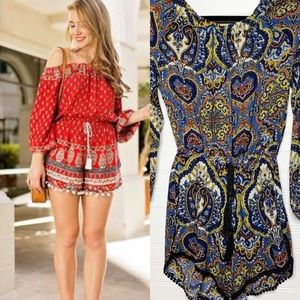 Band of Gypsies off the shoulder pompom romper S
